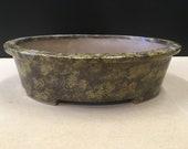 Oval shaped bonsai pot with rim. 12 3 4 quot x 9 5 8 quot