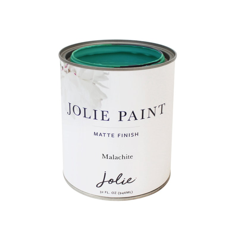 Jolie Paint - Malachite - Matte finish paint for furniture, cabinets,  floors, walls, home decor - Water-based, Non-toxic - 32oz