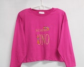 Vtg 90s Womens Embroidered Pink Thin Top Long Sleeve Short Sweatshirt size L OVERSIZE