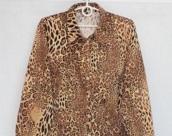 42c9b15f1c23e3 Vintage 90s Womens Panther Animal Print Long Sleeve Blouse Shirt Top size L