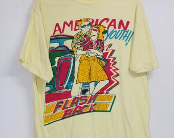 f54377fb7f Vintage 90s Yellow American Youth Flash Back Couple American 70s Print Top  Tee T Shirt T-Shirt size M
