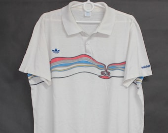 1f16de595bd3f6 Vintage 80s Adidas Lendl Ivan  The Face  White Tennis Polo T Shirt T-Shirt  Tee size L Made in West Germany