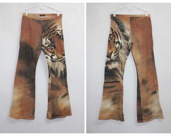 9a352d5e101d09 Vintage 90s Womens Tiger Flare Bottoms Trousers Pants size S / M W29