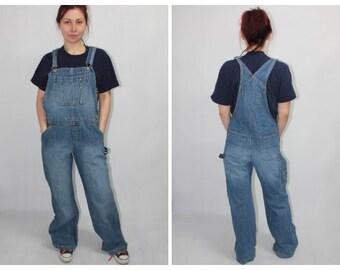 b3d025d4d Vintage 90s Tommy Jeans Tommy Hilfiger Blue Denim Dungarees Trousers Pants  size XL W40