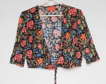 Vintage 90s Kenzo Jungle Floral Pattern Hippie Colorful Abstract Print  Bolero Cape Top Shirt Blouse size S 781e32f9894
