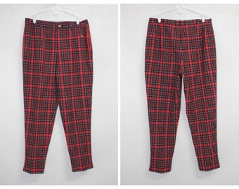 b5fc0fa2f7 Vintage 90s Womens High Waisted Checkered Plaid Trousers Pants size L W35
