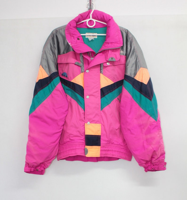 4067d4cd Vintage 90s Ellesse Colorful Padded Down Puffa Winter Ski Jacket Coat XL