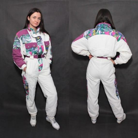 Vintage 80s Abstract Neon Ski Snow Suit Snowsuit S