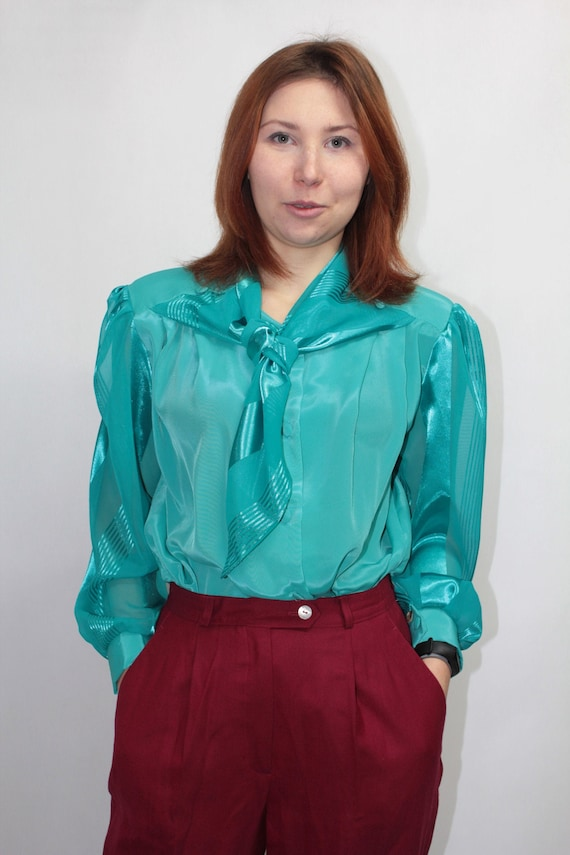 Vtg 80s Secretary Sheer Silky Turquoise Long Sleeve Pussy Bow Tie Office Blouse Shirt Top size L