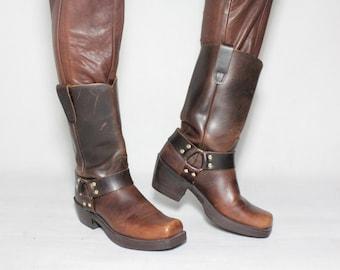 Vintage 90s DURANGO Motorcycle Biker Harness Rocker Western Brown Leather Mid-calf Boots Shoes size EUR 42 US Mens 9