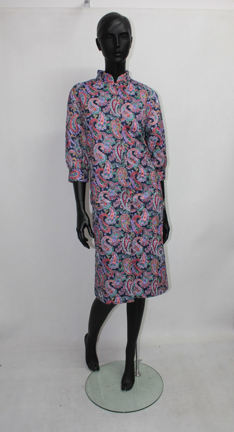 Vtg 70s Womens Floral Pattern Quilted Dressing-Gown Housecoat Nightgown Robe Bathrobe size M
