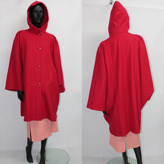 Vintage JENSEN Red Hooded Wool Cape Poncho Hooded