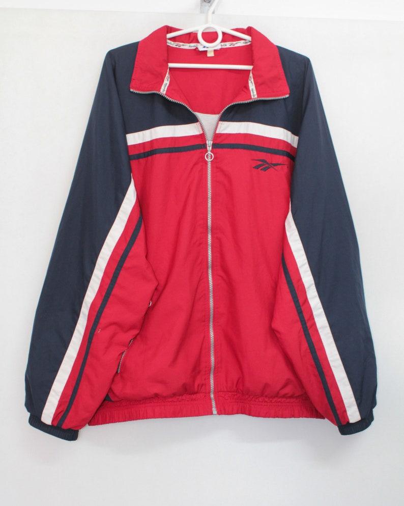 667bbc2cdbaf6 Vintage 90s Reebok Red Navy Blue Shell Pullover Jacket Coat XL