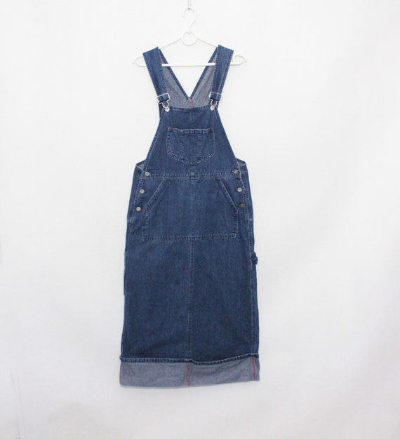 Vintage 90s Blue Dark Denim Jeans Dungaree Pinafo… - image 3