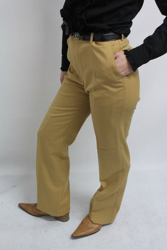 Vintage High Waisted Mustard Plain Yellow Trousers