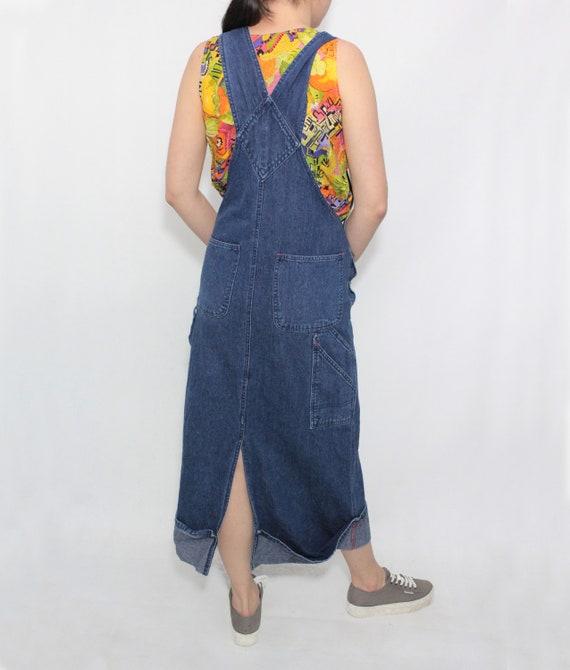 Vintage 90s Blue Dark Denim Jeans Dungaree Pinafo… - image 2