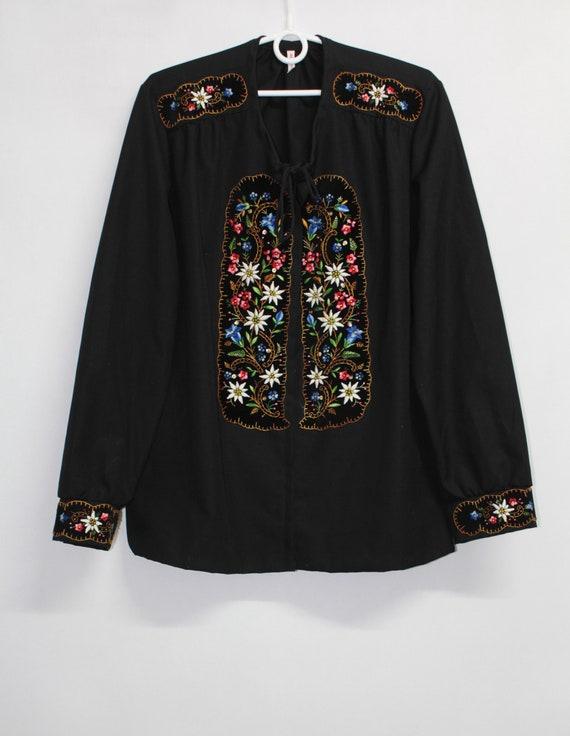 Vtg 60s 70s Embroidered Floral Trachten Bavarian P