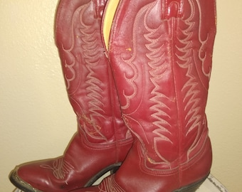 8487835496 vintage LADIES RED Leather COWBOY Boots Size 6 Red leather cowboy boots  Womens small Cowboy boots Wedding Rustic Cowboy boots Girls boots