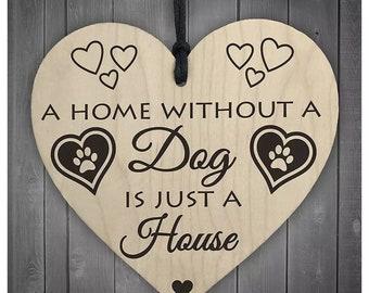 """Rétro coeur plaque signe /""""une maison sans un chien est juste une maison/"""""""