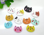 20 Cat Head Wooden Buttons Children Animal Fun Knitting Sewing Crocheting Craft