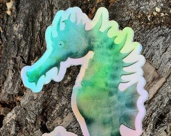 Seahorse ocean sticker, holographic sticker, bumper sticker, laptop sticker, vinyl decal, children's book, kid's art sticker, children's art