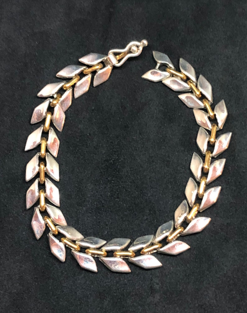 Taxco Silver Vintage Taxco Bracelet Vintage Taxco Mexico Silver /& Brass Bracelet Bracelet