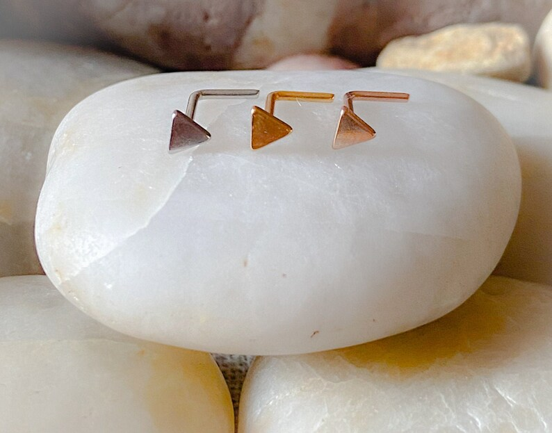 3mm Triangle  L Shape Nose Stud 3 Colours Available