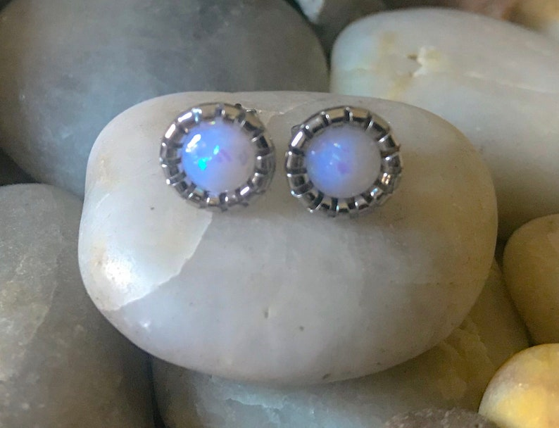 Pair of Round Faux Glitter Effect Opal 9.5mm Earring Studs Butterfly Post Back 4 Colours Available