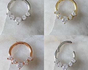 5 x Gem Hinged Septum Clicker Daith Rook Ear Ring 1.2mm 8mm/10mm - 3 Colours