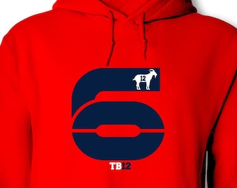 7ab472003 Tom Brady Inspired Number 6 Hoodie