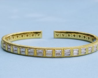 CZ Trillion. Suzanne Somers Gold Vermeil Sterling Silver Trillant CZ Bangle Bracelet for Medium to Large Wrist 7 14 Inner Circumference