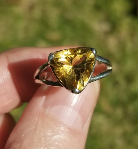 Trillion Citrine and Sterling Silver Ring. Citrine