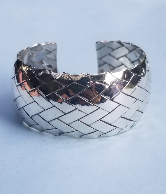 40.24 Grams Wide Woven Bold Artisan Crafted Sterling Silver Cuff Bracelet Woven Handmade Sterling Silver Cuff for Small Wrist 6 to 6 12