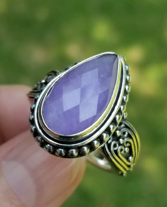 Suarti Purple Jade Checkerboard Faceted Sterling S