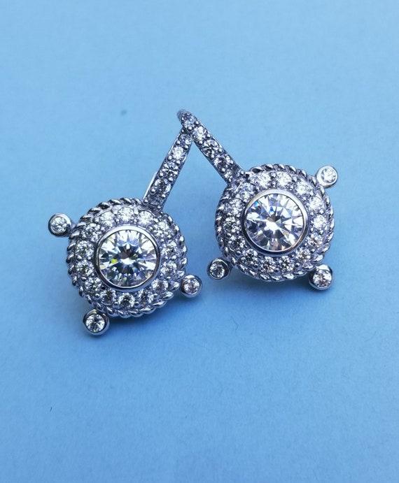 Judith Ripka Signed High End Sterling Silver Vermiel Textured Heart Cubic Zirconia Bracelet OR BEST OFFER