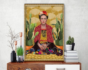 Downloadable Digital Image, Downloadable Kahlo portrait, Kahlo print; frida print; Kahlo art; Mexican folk art, Modern Room decor, wall art