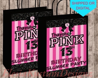 Pink Theme Gift Bag Labels Victoria Secret Birthday Party Slumber 13th