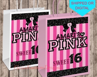 VS Pink Inspired Gift Bag Favor Bags Victorias Secret Chip Sweet 16 Party Birthday Part