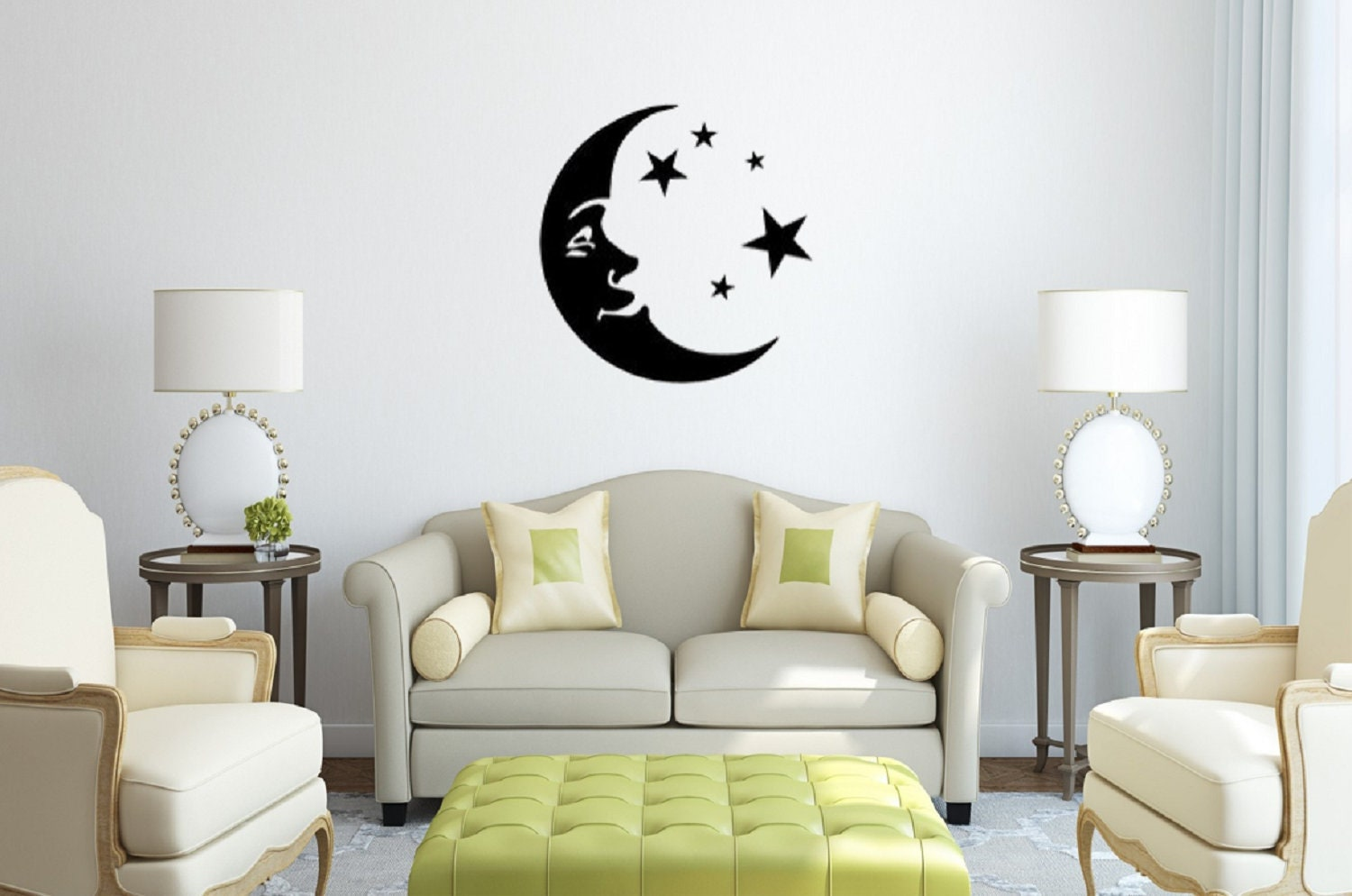Moon And Stars Wall Decal Bedroom Decal Living Room Decor Couples Decor Living Room Decor Home Decor Moon And Stars Decor