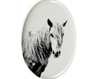 Irish Sport Horse Tombstone Plaque with a Photo of a Horse Custom Memorial Plaque Ceramic plate with Your Horse/'s Photo