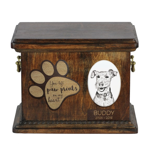 Lower Model of Wooden Urn Yorkshire Terrier Urn for Dog Ashes Urn with Name Dates and Quote Memorial with Statue on Top