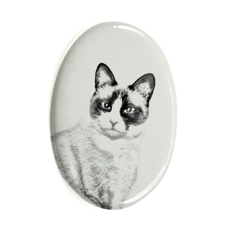 Ceramic plate with Your Cat/'s Photo Custom Memorial Plaque Snowshoe Cat Tombstone Plaque with a Photo of a Cat