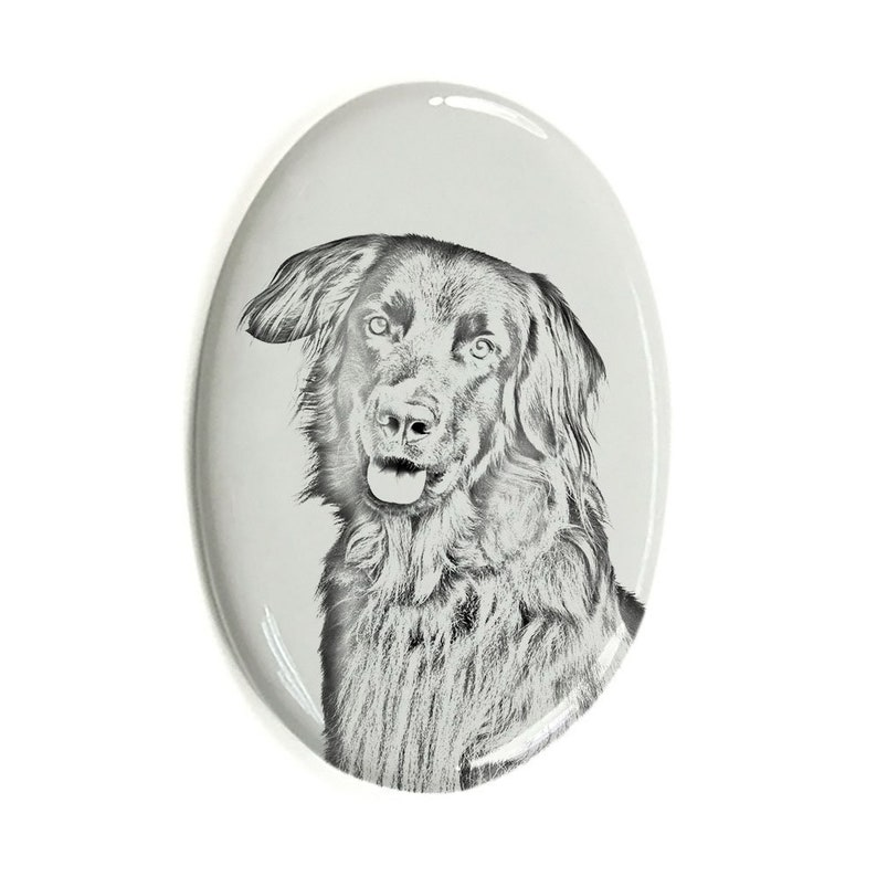 Beagle Tombstone Plaque with a Graphics Ceramic plate with Geometric Dog Memorial Plaque