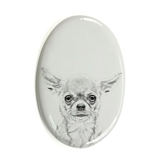 Custom Memorial Plaque Chihuahua Tombstone Plaque with a Photo of a Dog Ceramic plate with Your Dog/'s Photo