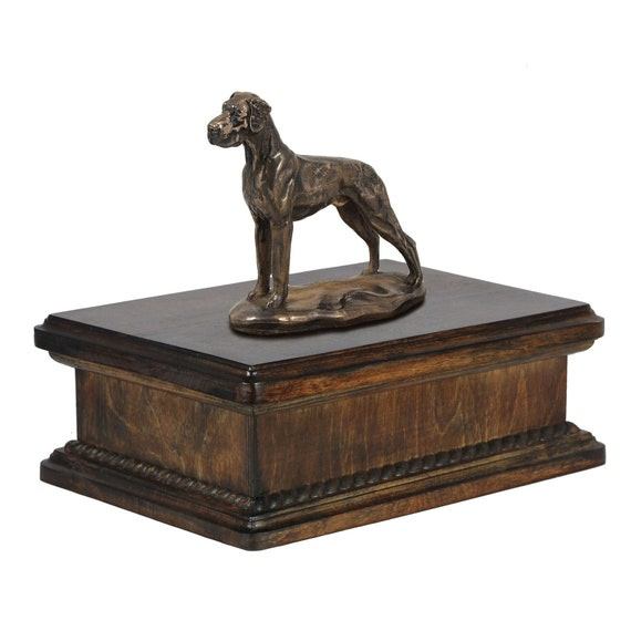 Urn with Name Labrador Retriever Urn for Dog Ashes Memorial with Statue on Top Dates and Quote Lower Model of Wooden Urn