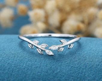 Unique White Gold wedding band Open wedding band Art deco marquise Moissanite / diamond leaf Wedding ring Vintage promise Anniversary gift