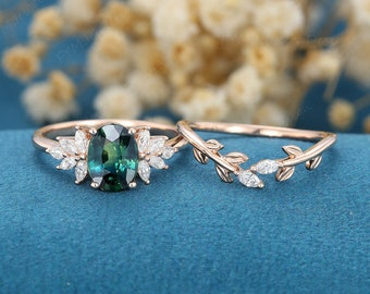 Oval shaped Blue green sapphire engagement ring set vintage rose gold Cluster engagement ring art deco Marquise Diamond ring Bridal Promise