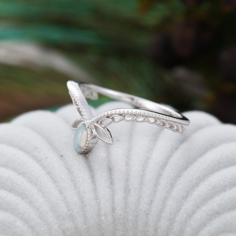Unique Marquise cut Opal wedding band vintage Solid  14K White Gold Crown ring women Statement Matching Bridal Anniversary gift for her