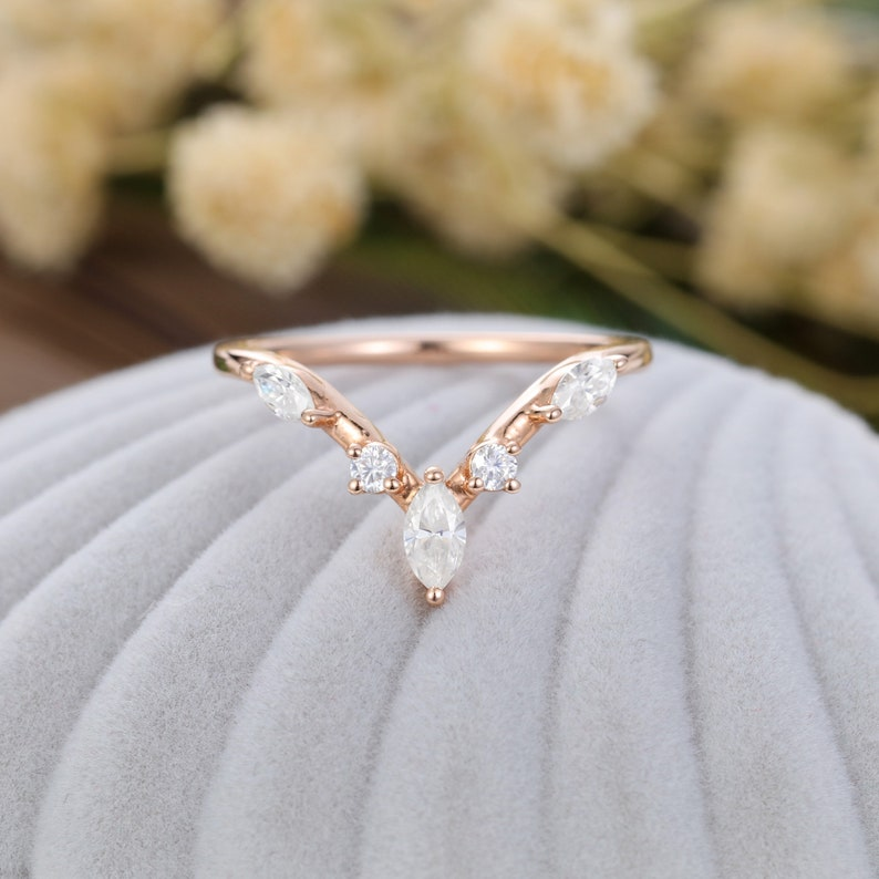 Moissanite wedding band Rose gold vintage women Solid 14K Gold Unique Marquise cut Statement Matching band Delicate Bridal Promise gift