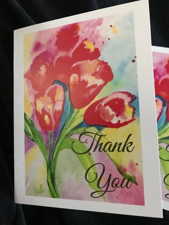 Brush lettered printed on 100/% recycled card Pink and Yellow Watercolour Cards Thankyou Cards Minnie/&Lou Gift n Greeting Card Collection